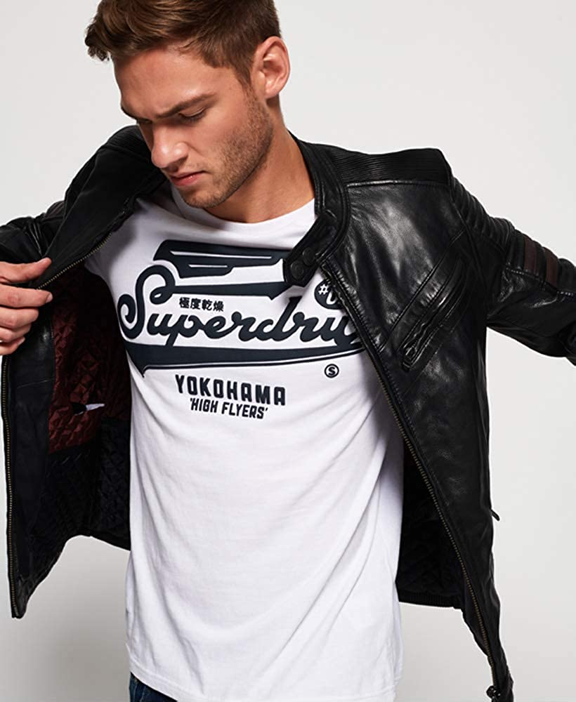 coupon codes excellent quality enjoy best price Superdry SD Endurance Indy Circuit Leather Jacket Black at ...