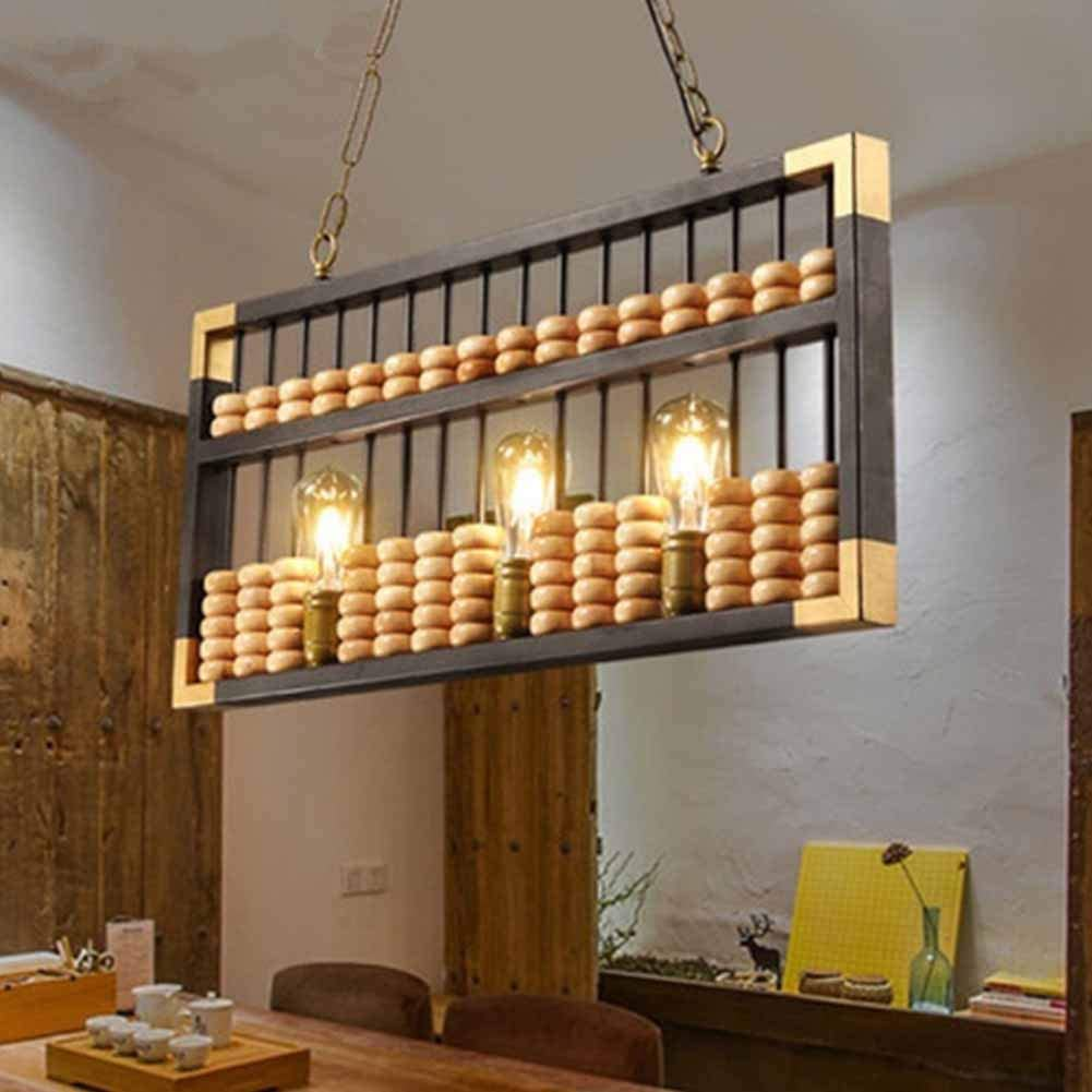 L&L Colgante luz Abacus araña de Madera Creativo Front Desk ...