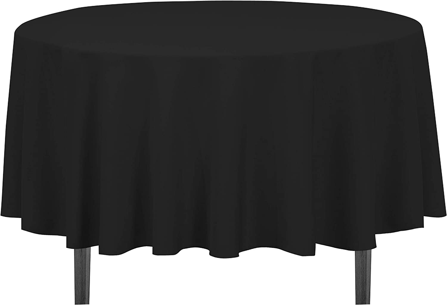 LinenTablecloth 90-Inch Round Polyester Tablecloth Black: Home & Kitchen