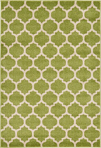 Unique Loom Trellis Collection Moroccan Lattice Light Green Area Rug (4' 0 x 6' 0)