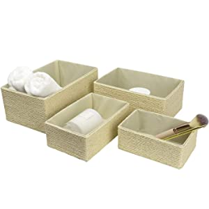 LA Jolie Muse Storage Baskets Set 4 - Stackable Woven Basket Paper Rope Bin, Storage Boxes for Makeup Closet Bathroom Bedroom (Cream)