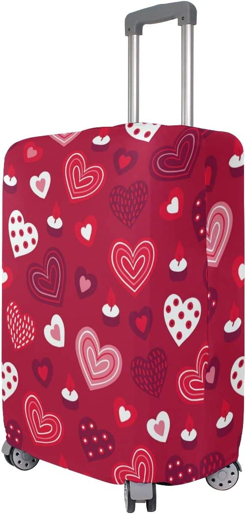 Travel Luggage Cover Pink Love Hearts Pattern Red Background Suitcase Protector