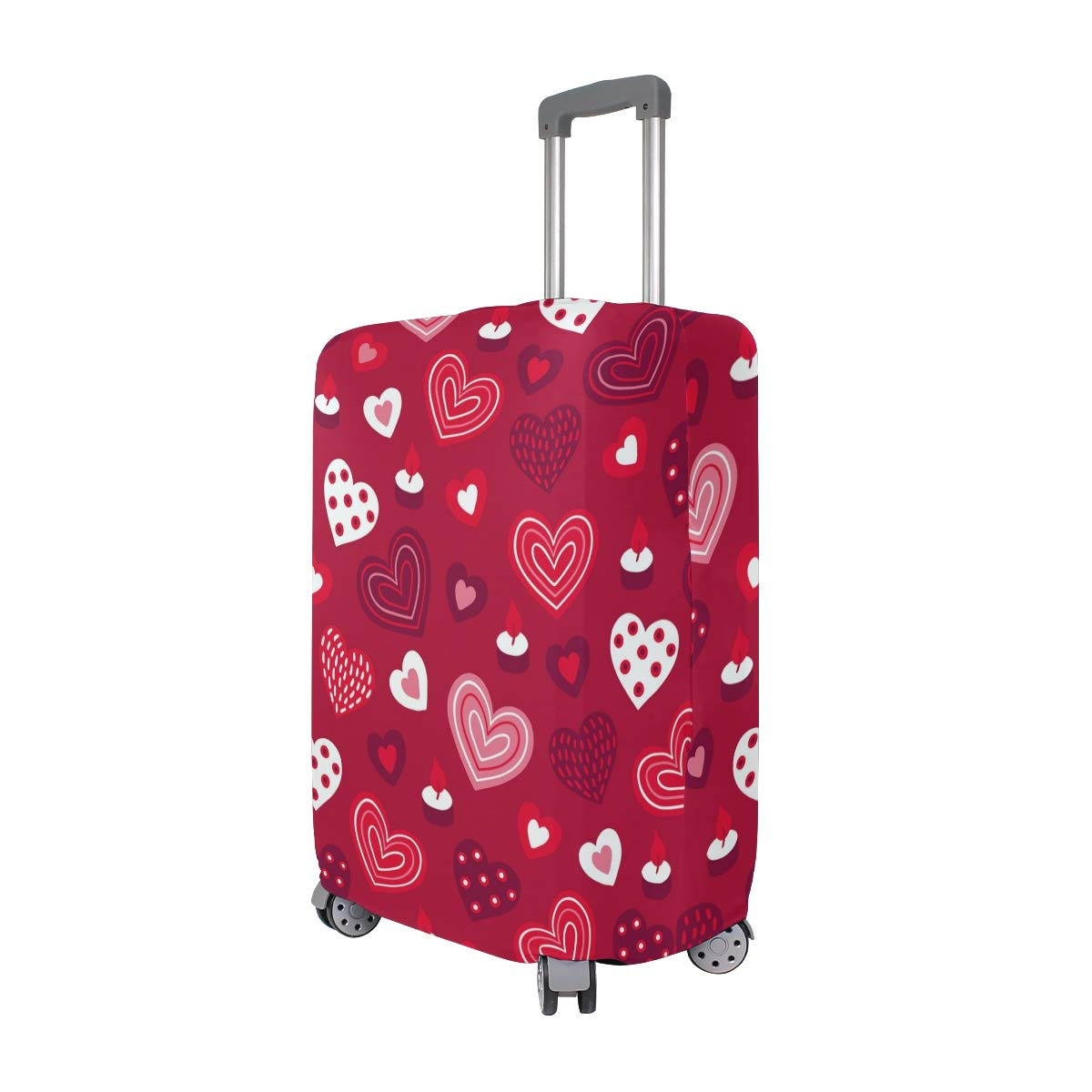 Baggage Covers Pink Love Hearts Pattern Red Background Washable Protective Case