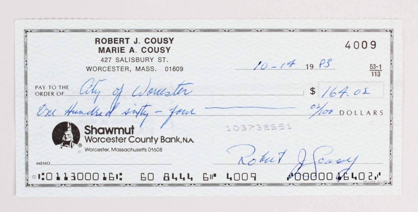 Bob Cousy Signed Check Celtics COA NBA Cut Signatures