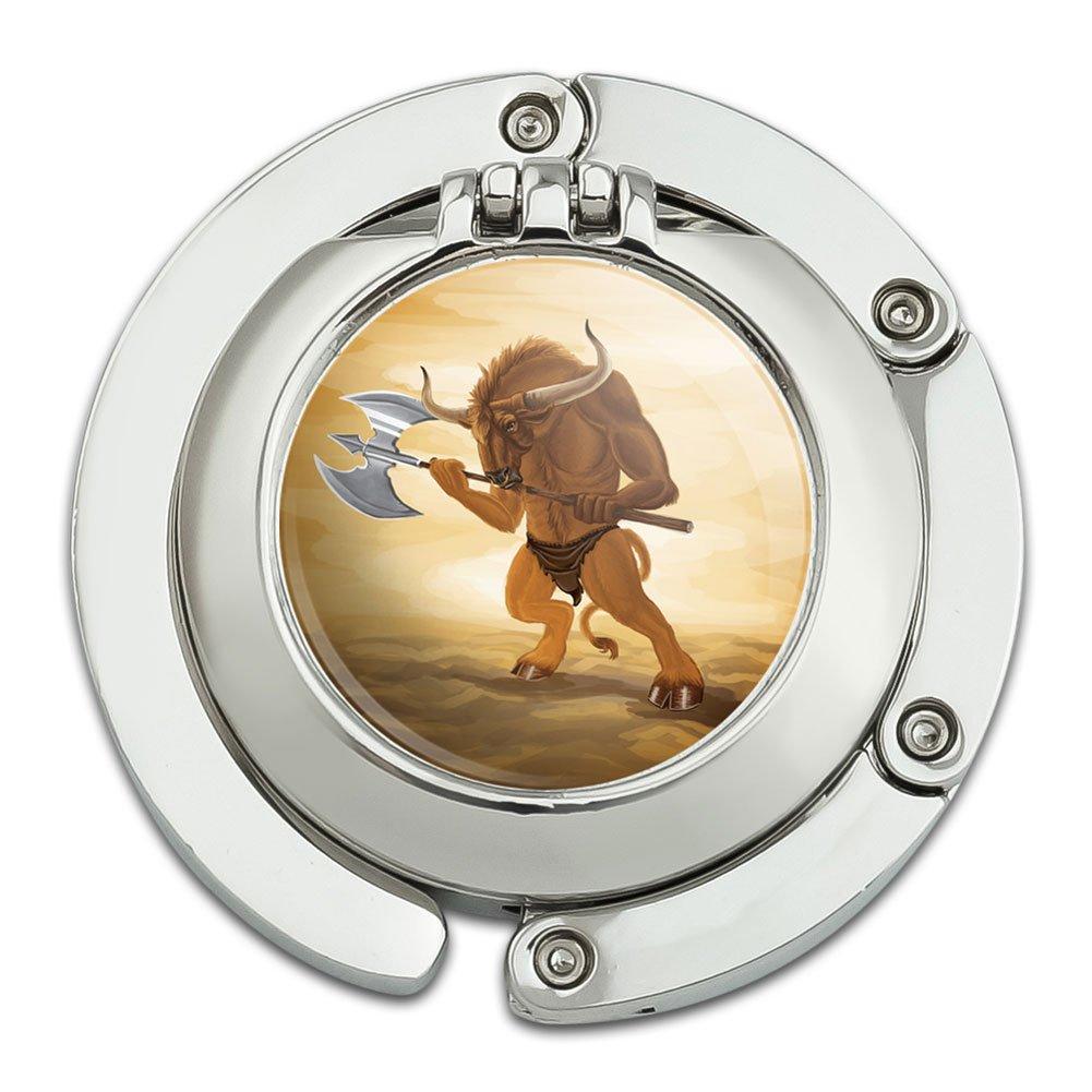 Minotaur Fantasy War Axe Foldable Table Bag Purse Caddy Handbag Hanger Holder Hook with Folding Compact Mirror