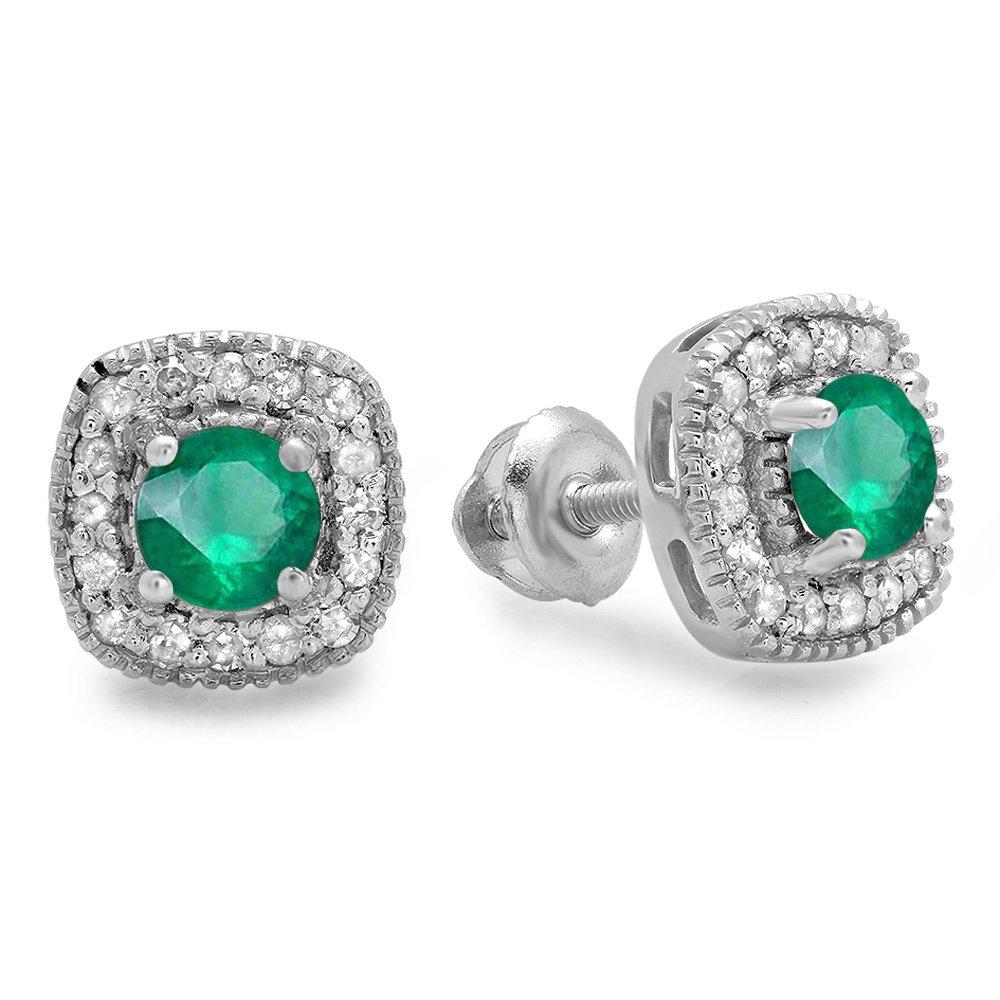 Sterling Silver Round Cut Green Emerald & White Diamond Ladies Halo Stud Earrings