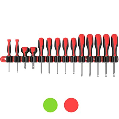 Olsa Tools Premium Wall Mount Screwdriver Organizer | Red Nylon + Black Clips | Holds 14 Screwdrivers: Automotive
