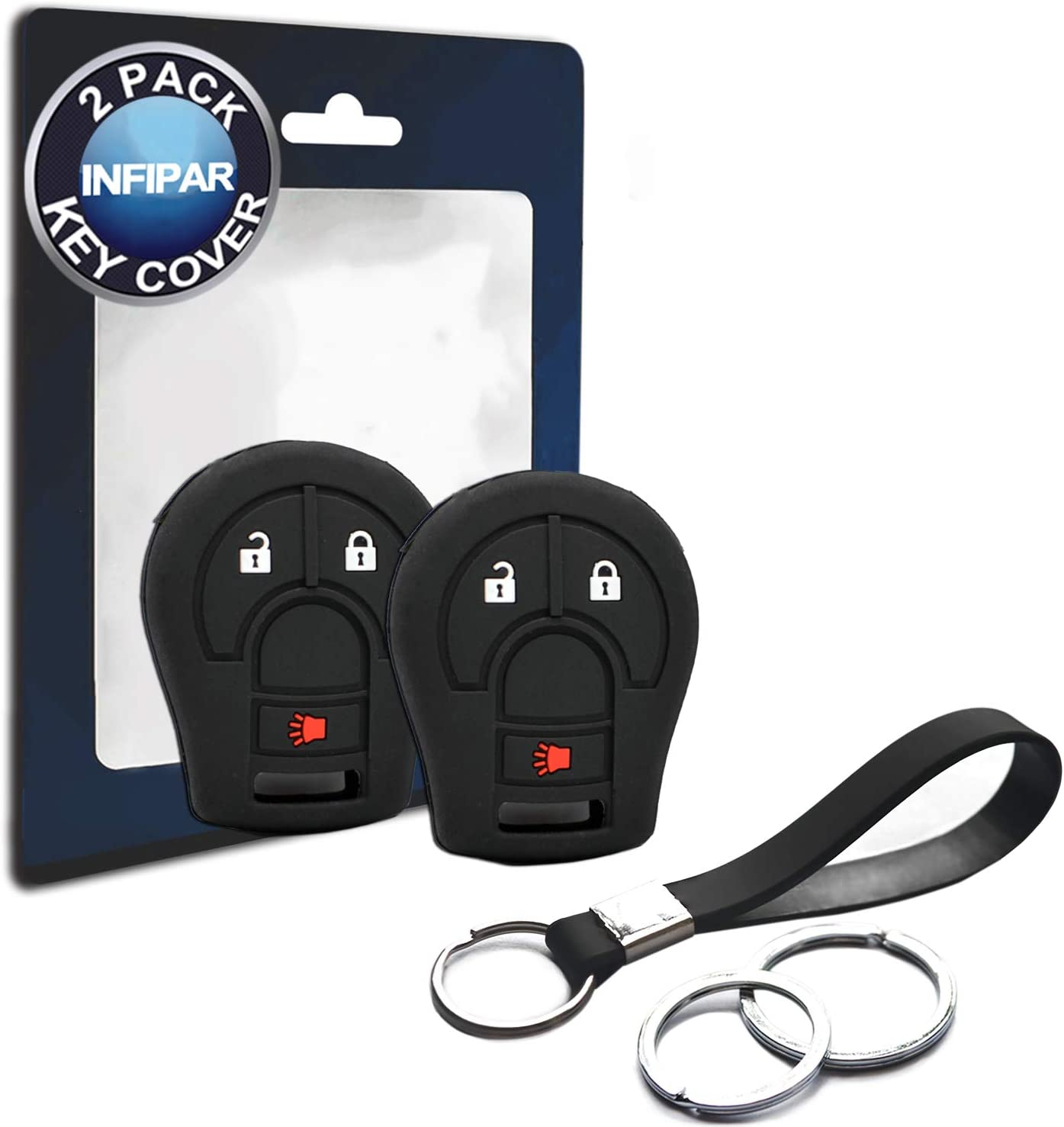 2pcs Compatible with Nissan Remote Head 3 Buttons Silicone FOB Key Case Cover Protector Keyless Remote Holder for Nissan Xterra Armada Cube Frontier Juke Murano Pathfinder Quest Rogue Sentra Titan