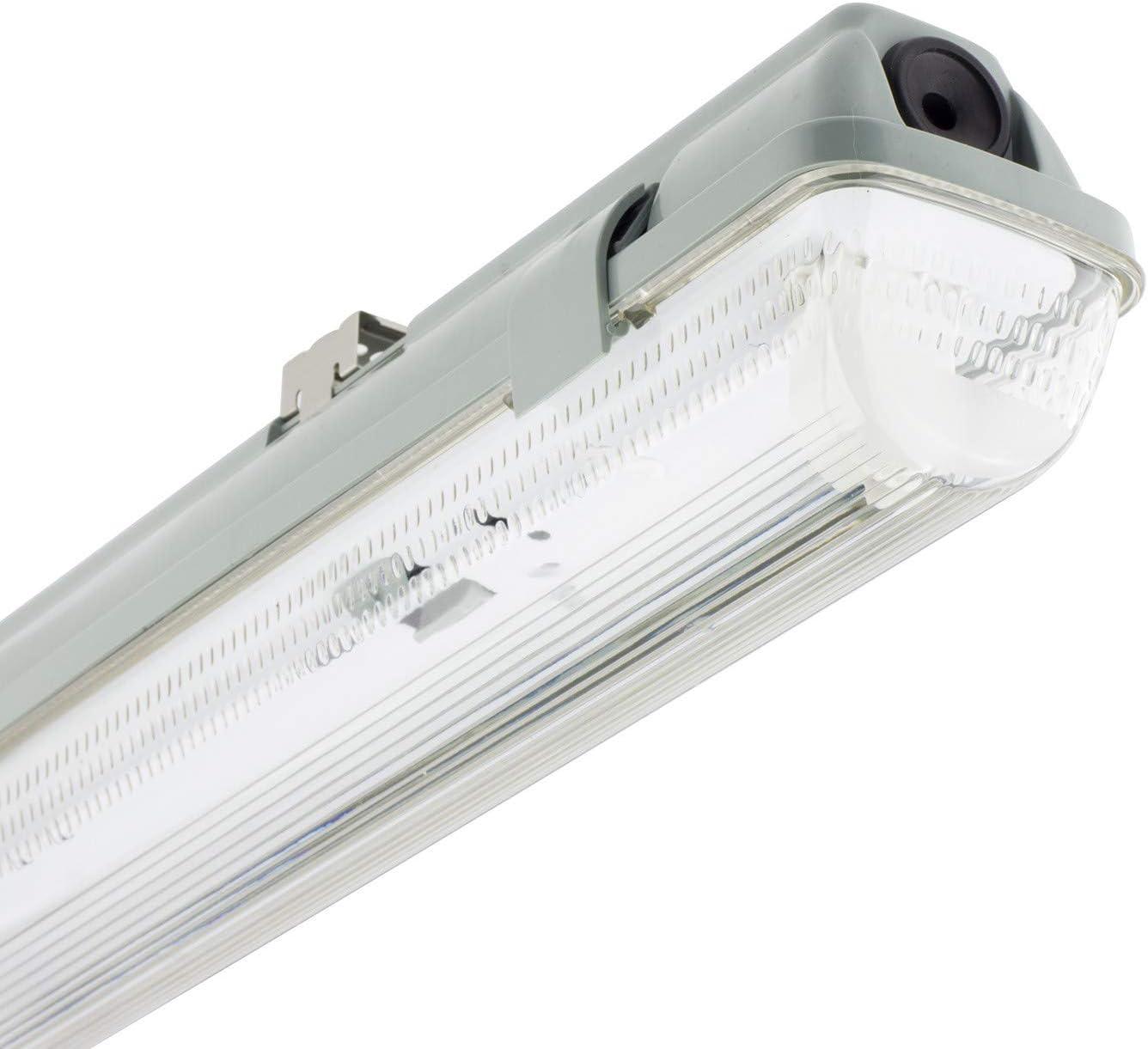 Pack 2 Pantallas Estancas para un Tubo de LED 1200mm PC/PC Conexión un Lateral Exclusive: Amazon.es: Iluminación