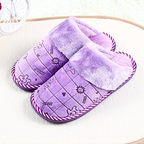 mhgao Ladies Casual lana Slipper interior cálido antideslizante zapatillas morado