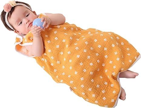 Saco de dormir de verano para bebé, saco de dormir de verano, 0,5 tog, para niños, sin mangas, para recién nacidos, 100% algodón, gato amarillo amarillo Talla:90-100 cm: Amazon.es: Bebé