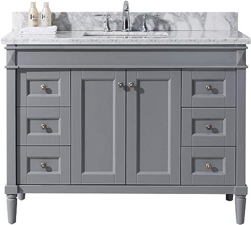 Virtu USA ES-40048-WMSQ-GR-NM Tiffany 48″ Single Bathroom Vanity Set