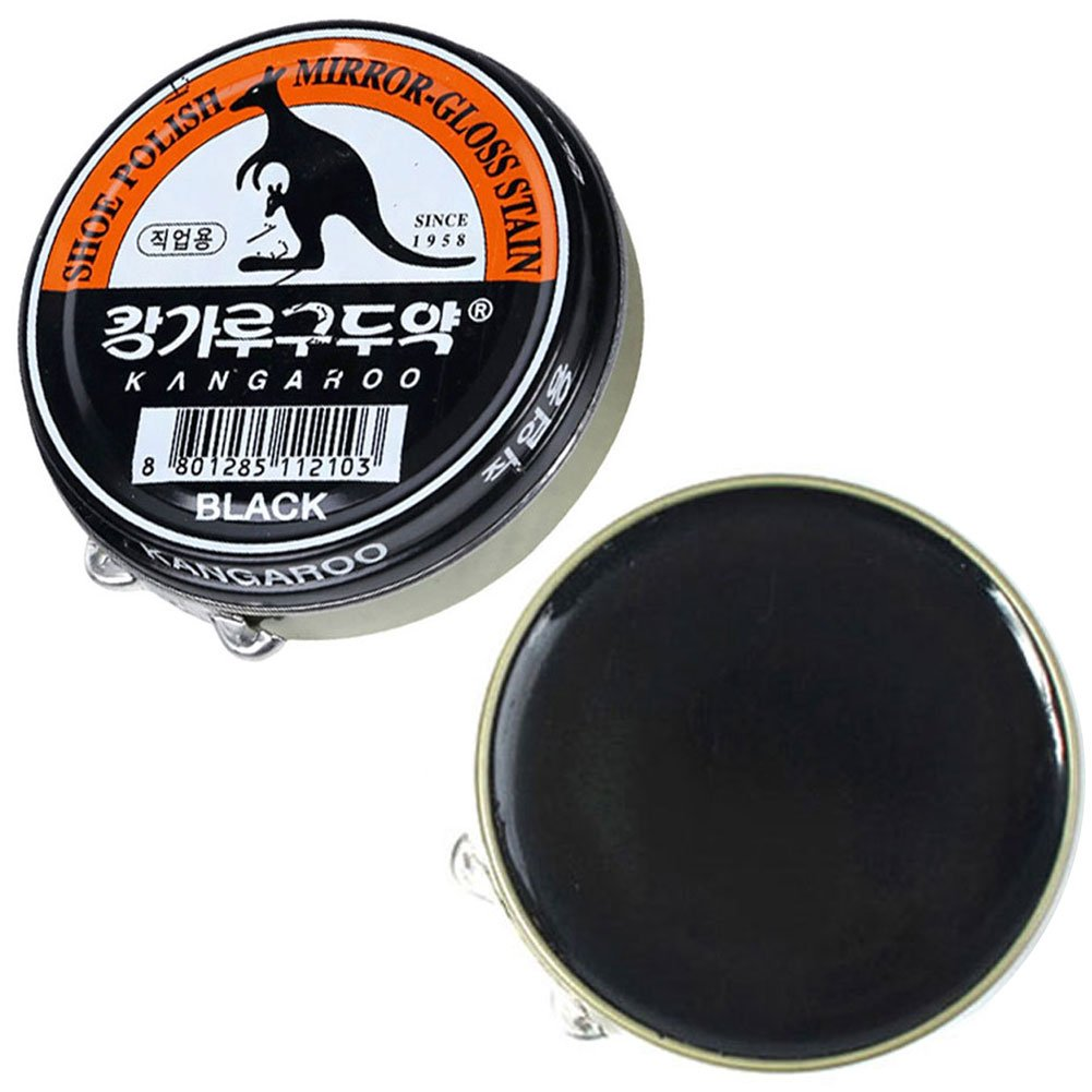 (Black x 3 pcs) Kangaroo Shoe Boots Dyes Polishes Mirror-Gloss Stain Shine Wax For Professional