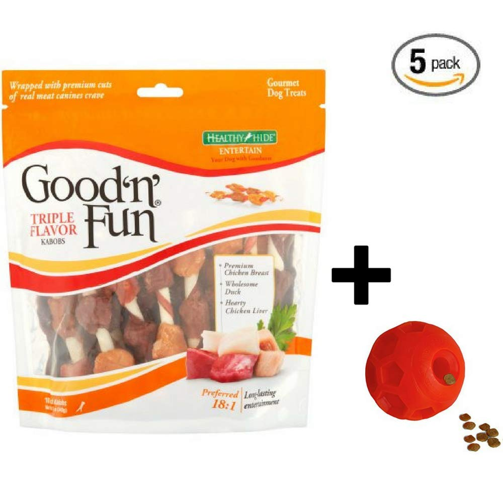 Good'n'Fun Triple Flavored Kabobs Rawhide Chews for Dogs 5-Pack + Dog Toy by Good'n'Fun (Image #1)