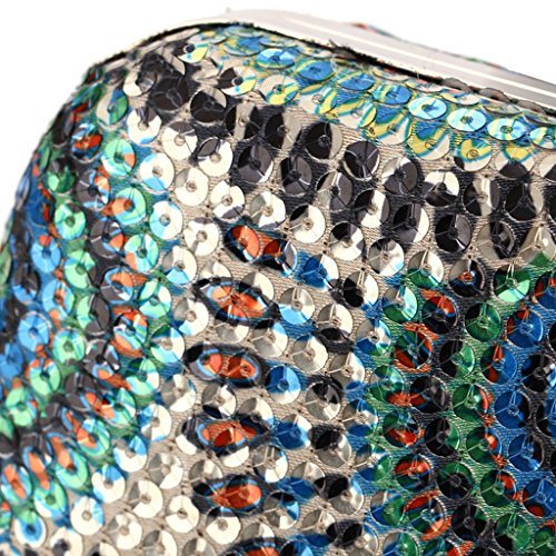 Purse Bag Bead Golden Dabixx Handbag Party Prom Clutch Shimmering Bridal Sequined Evening Blue qIgwnnRYA
