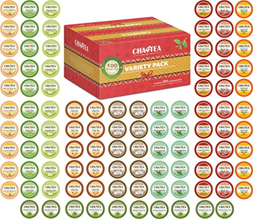Cha4TEA 100-Count Variety Sampler Pack for Keurig K-Cup Brewers, 10 Flavors (Green Tea, Black Tea, Jasmine, Earl Grey, English Breakfast, Matcha Green Tea, Peppermint, Chai Tea, Camomile)