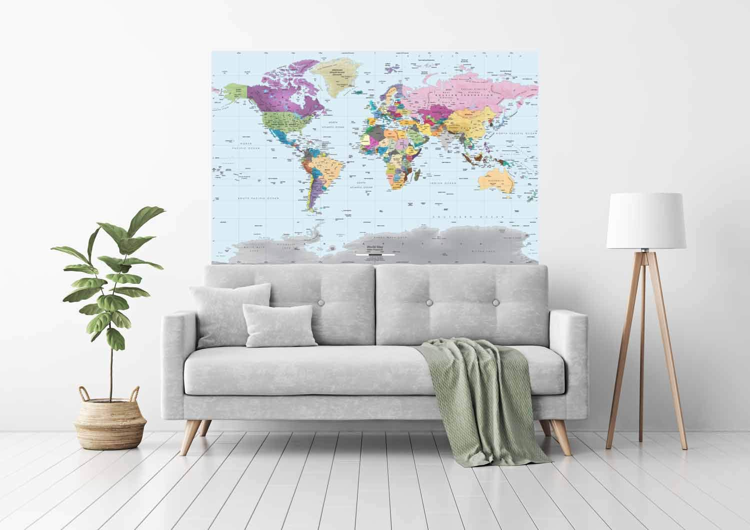 Academia Maps World Map Wall Mural - Modern Colorful Map - 62 x 42 One-Piece Premium Self-Adhesive Fabric - Professional-Grade DIY by Academia Maps (Image #2)
