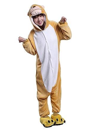 URVIP Unisex Festliche Anzug Flanell Pyjamas Trickfilm Jumpsuit Tier Cartoon Fasching Halloween Kostüm Sleepsuit Party Cospla