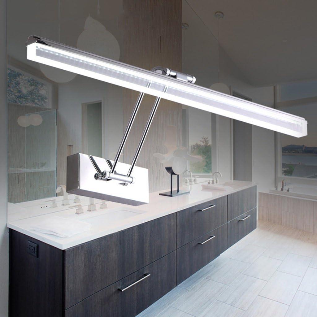 LED espejo de maquillaje de baño espejo iluminación ajustable ángulo resistente al agua de acero inoxidable antivaho (Color : White Light): Amazon.es: Iluminación