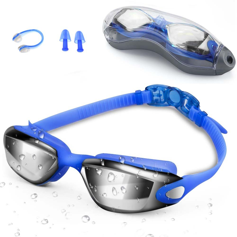 Zerhunt Swim Goggles Adult Mens Children - Mirror Swimming Goggles Anti Fog with UV Protection No Leaking with Nose Clip and Earplugs, Designed for Mens Womens Kids