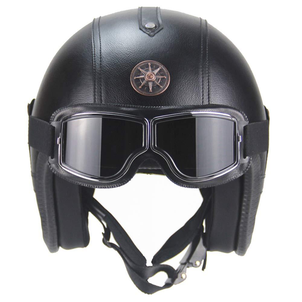 SVIVISP Warrior Motorradhalbhelm mit Sonnenschutz f/ür M/änner und Frauen verstellbares halbes Gesicht f/ür Bike Cruiser Chopper Moped Roller ATV