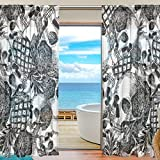 SEULIFE Window Sheer Curtain, Halloween Skull Pineapple Pattern Voile Curtain Drapes for Door Kitchen Living Room Bedroom 55x84 inches 2 Panels