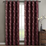 Cheap Pair of Two Embroidered Lined Top Gromment Curtain Panels, Rich Embroidery Floral Pattern, Elegant and Contemporary Olivia Panels, Burgundy, Set of Two 52″ by 63″ Panels (104″ by 63″ Pair)