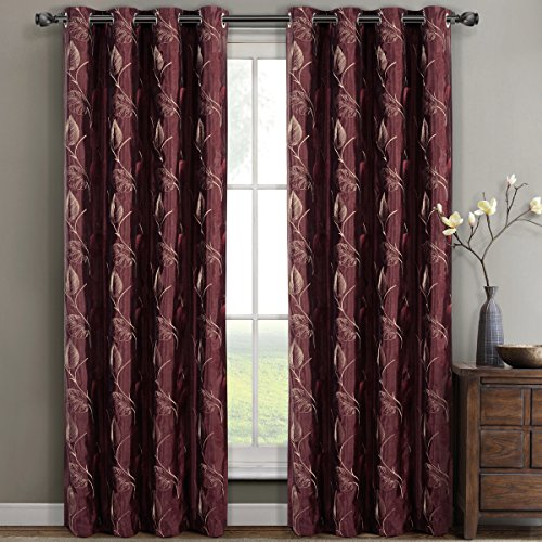 Pair of Two Embroidered Lined Top Gromment Curtain Panels, Rich Embroidery Floral Pattern, Elegant and Contemporary Olivia Panels, Burgundy, Set of Two 52