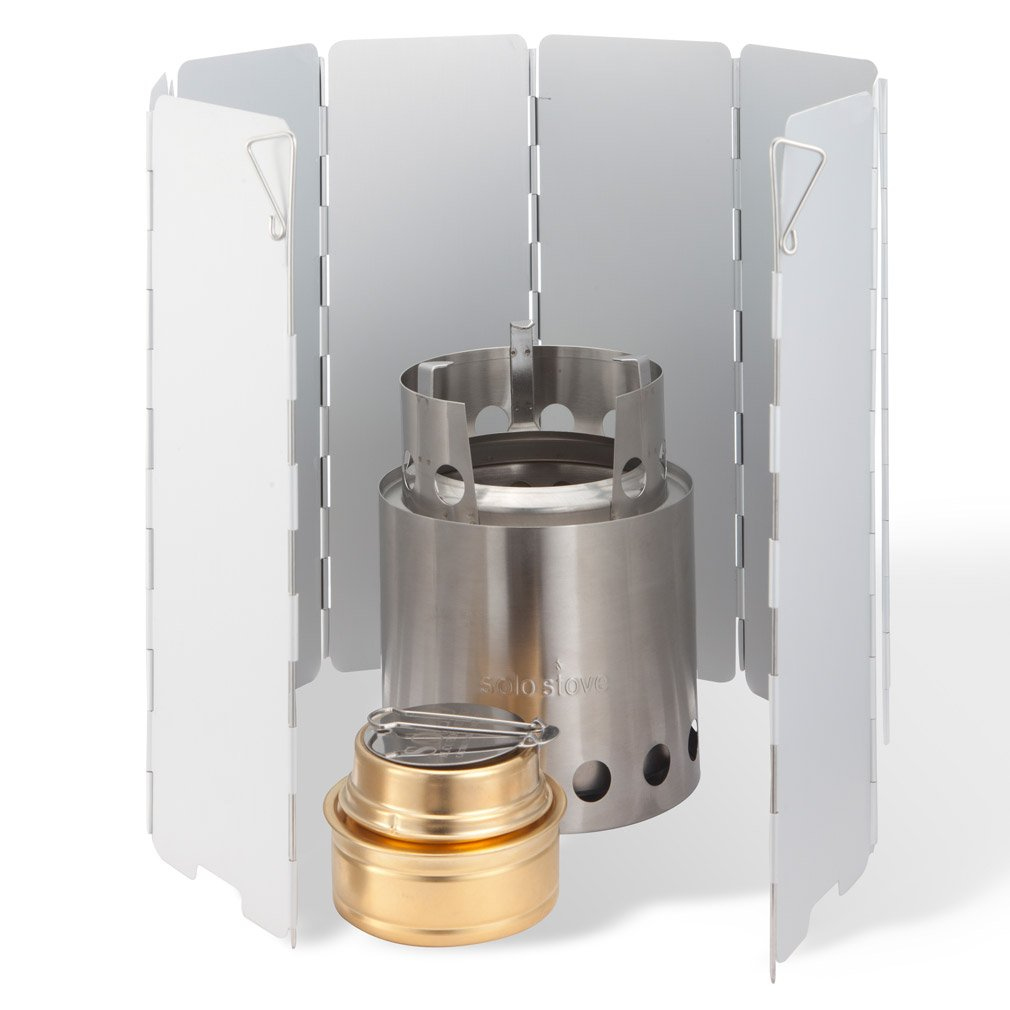 Solo Stove w Aluminum Windscreen Solo Alcohol Burner. Great Wood Burning Ultralight Stove for Camping, Backpacking, Emergency and Survial Preparation. A Bug Out Bag Must-Have.