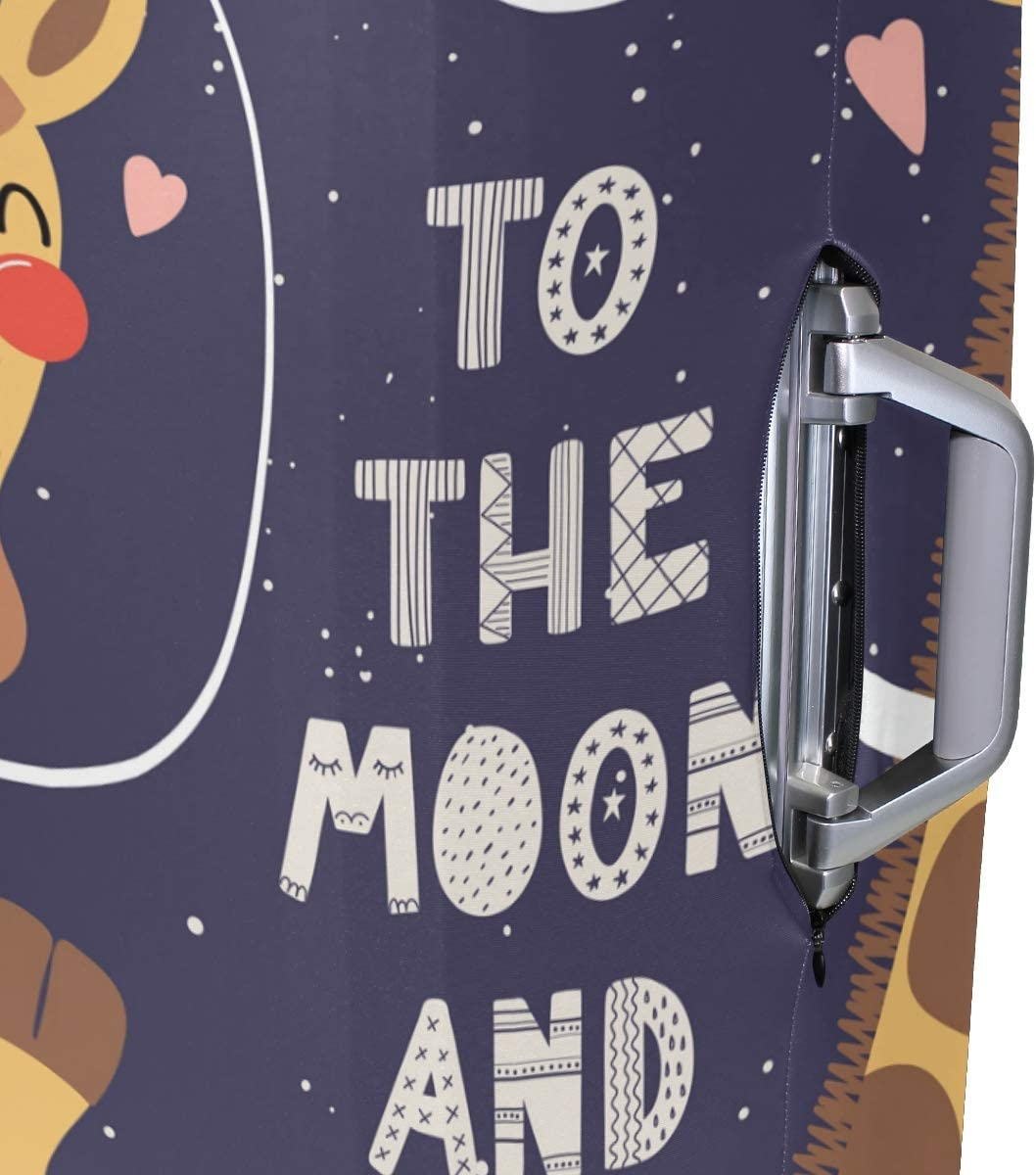 FOLPPLY Funny Deer To The Moon And Back Luggage Cover Baggage Suitcase Travel Protector Fit for 18-32 Inch