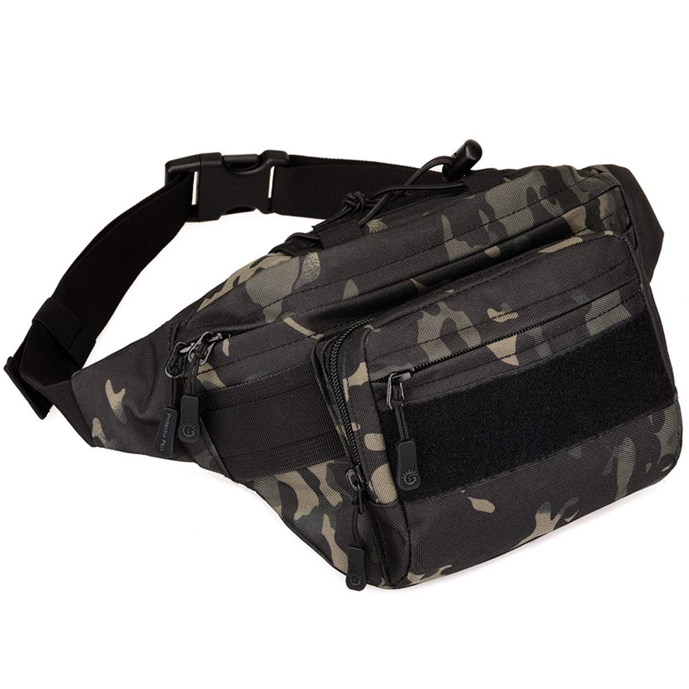 DYJ Tactical Waist Pack Bag Military Waist Pack Portable Fanny Packs Large Army Waist Bag for Daily Life Fishing Cycling Camping Hiking Traveling Hunting Shopping (Black Camouflage 2)