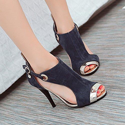 Gray Heel Sandals High Summer JOJONUNU Women qFSXwXZ