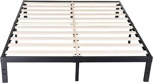 Amazon Com 14 Inch Metal Platform Bed Frames Wood Slat Support