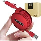 巻き取り式 ケーブル 急速充電 ライトニング MicroUSB 2in1 150cm A RFM (1.5m, red)