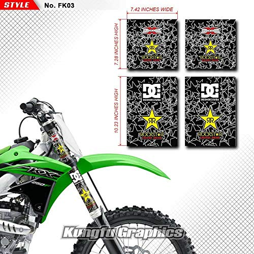 Kungfu Graphics Rockstar Upper Mid Fork Tube Decal Kit (Pack of 4), Black