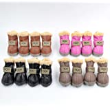 Ship From USA Dog Australia Boots Pet Antiskid Shoes Winter Warm Skidproof Sneakers Paw Protectors 4-pcs Set with 1pc Hair Ring