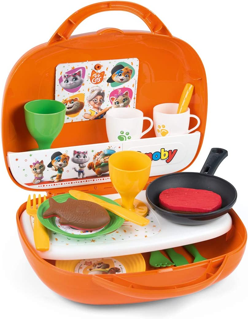 Amazon Com Smoby 44 Cats Mini Kitchen In Case 3 Years 7600310608 Toys Games