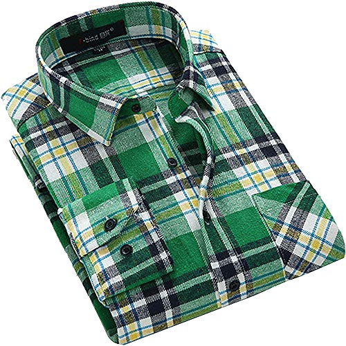 DOKKIA Men's Dress Buffalo Plaid Checkered Fitted Long Sleeve Flannel Shirts (Green Yellow White, Small) - Green Organic Woven Shirt