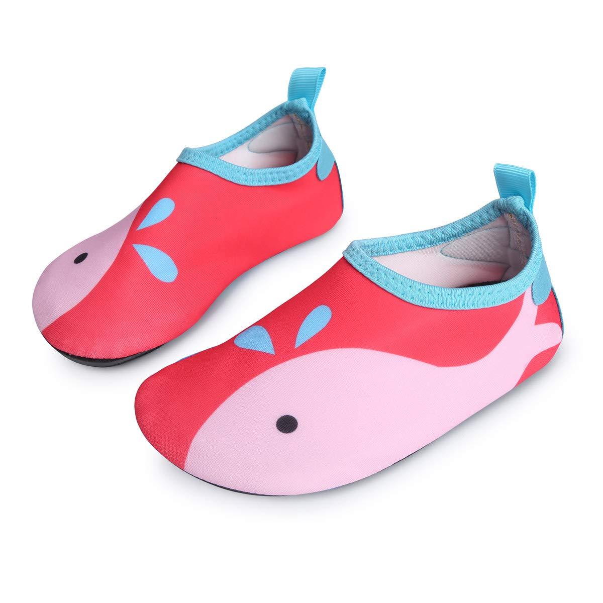 L-RUN Kids Swim Shoes Boys Girls Barefoot Skin Water Shoes Aqua Sock Red 4-4.5=EU36-37