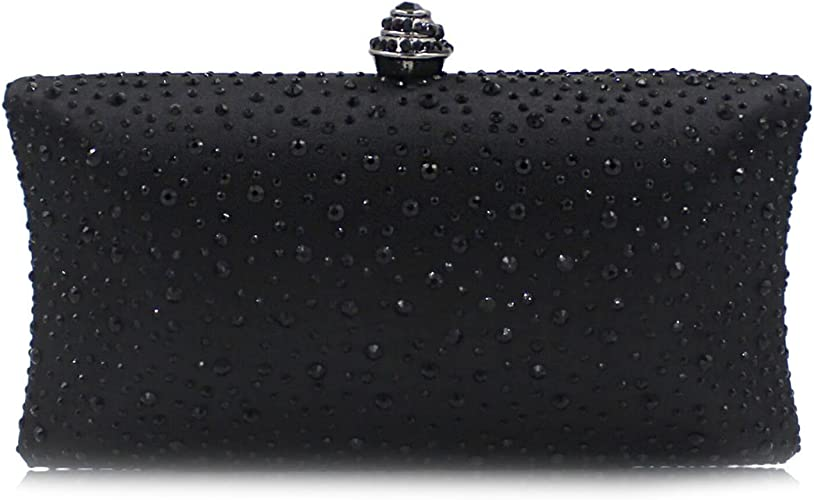 Designer Womens Beaded Crystal Clutch Bag Ladies Evening Prom Party UK Purse New