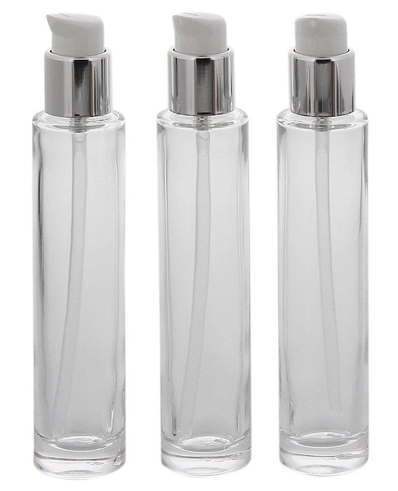 Runder Glas-Flakon m. Pumper, Gel-Spender, 30 ml Kosmetex Pumpflasche, Gel, Lotion-Spender, leer, 3x 30ml Silber
