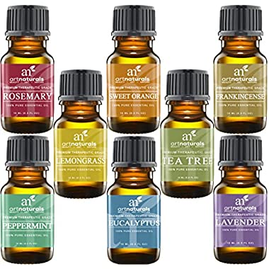 Art Naturals Top 8 Essential Oils – 100% Pure Of The Highest Quality Essential Oils – Peppermint, Tee Tree, Rosemary, Orange, Lemongrass, Lavender, Eucalyptus, & Frankincense – Therapeutic Grade