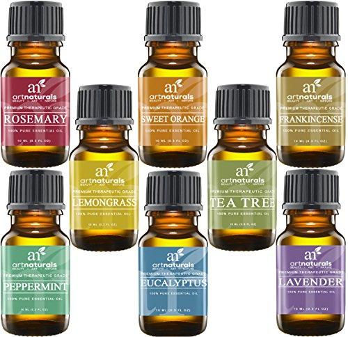 Art Naturals Top 8 Ätherische Öle - 100% Pure Ätherische Öle von erstklassiger Qualität | Pfefferminz-, Teebaum-, Rosemarin-, Orangen-, Zitronengrass-, Lavendel-, Eukalyptus- & Weihrauchöl | Therapeutische Stärke | Ideal zur Aromatherapie, Massage, Heilung, Revitalisierung & Wellness Behandlung