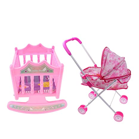 Four Wheels Stroller Simulation Baby Toy Simulation Play Toy Girl Kids Children Pretend Play Furniture Toys Baby Doll Stroller Pram Pushchair Gift Baby Stroller