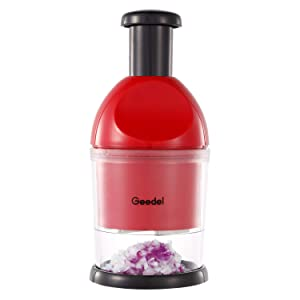 Geedel Food Chopper, Easy to Clean Manual Hand Chopper Dicer, Dishwasher Safe Slap Press Chopper for Vegetables Onions Garlic Nuts Salads