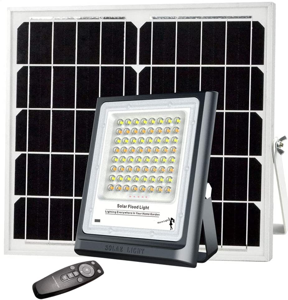 Solar Flood Light Outdoor 60W Auto On/Off Dusk to Dawn with Remote Control 64LEDs Bright White Floodlights Ip66 Waterproof Solar Power Light for Yard, Garden, Shed, Barn.