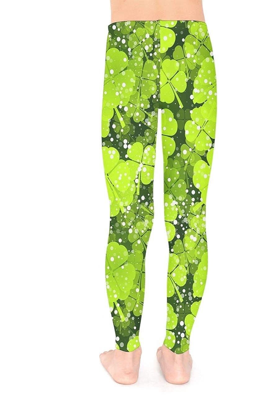 PattyCandy Spring Shamrock Leaves Kids Unisex Stretch Leggings 6 Green Yellow