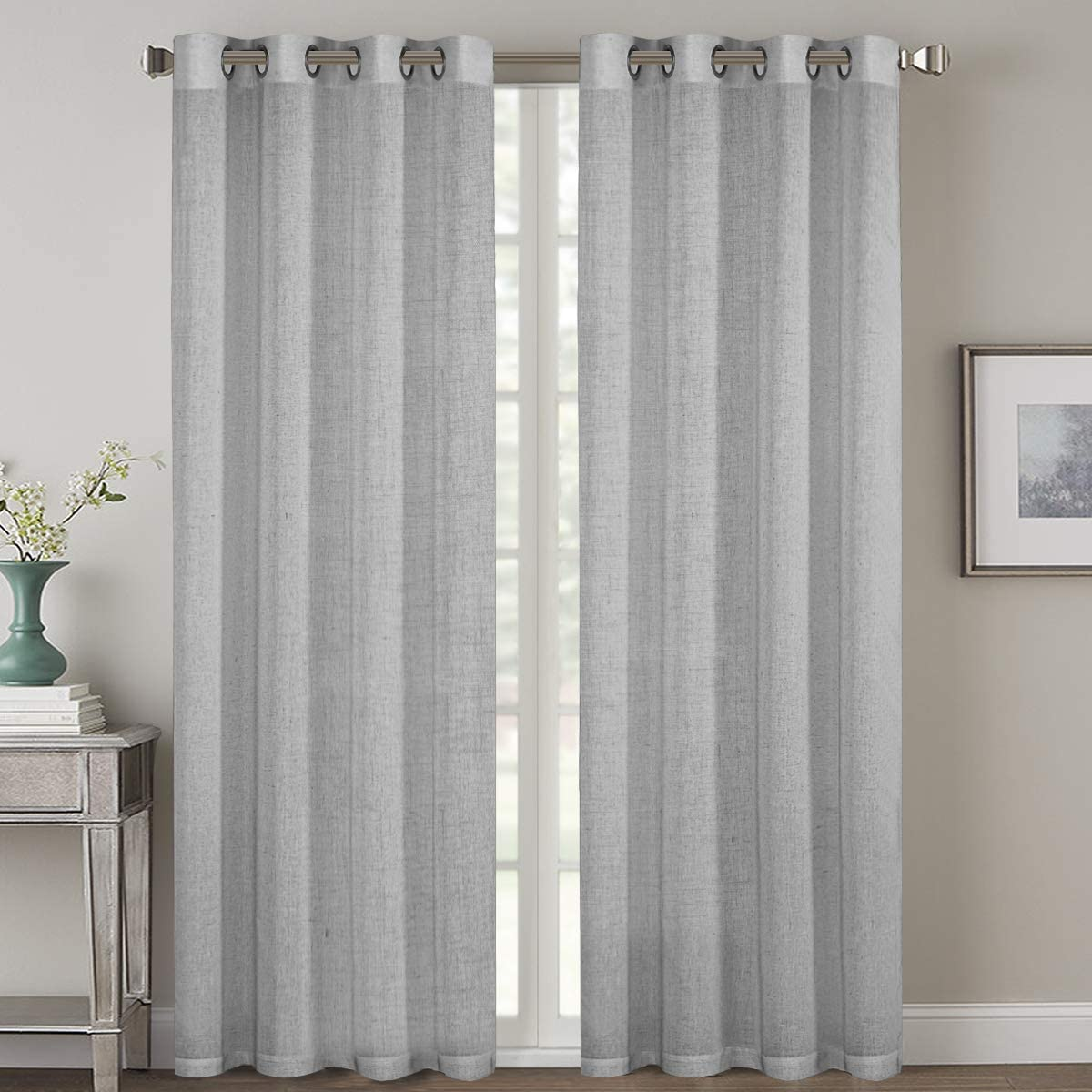 H.VERSAILTEX 2 Pack Ultra Luxurious High Woven Linen Elegant Curtain Panels Light Reducing Privacy Panels Drapes, Nickel Grommet Curtain Set, Extra Long 52x108-Inch, Dove