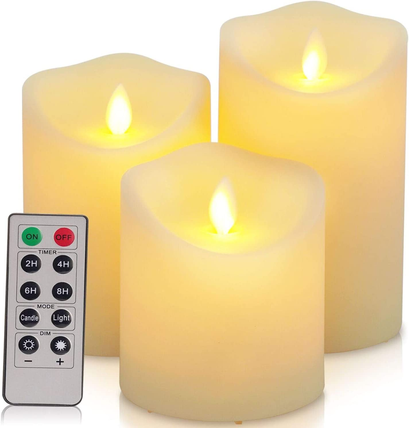 Flickering Flameless Candles Waterproof Outdoor Candles Battery Operated Candles with Remote Cycling 24 Hours Timer(D: 3.25