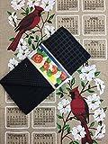Dogwood and Cardinal Kitchen Dish Towel 2018 Calendar Towel, Drying Mat, and Cook Book Bookmark 3 Piece Bundle